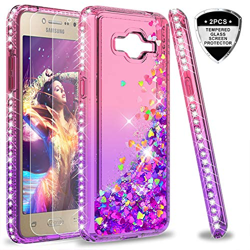 Galaxy Grand Prime,J2 Prime Case with Tempered Glass Screen Protector [2 Pack] for Girls Women,LeYi Glitter Shiny Liquid Clear TPU Protective Phone Case for Grand Prime Plus G530 ZX Rose Gold