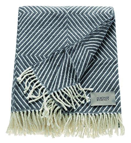 Schöner Wohnen Kollektion Wohndecke Grau dunkel 140x200 cm • weiche Kuscheldecke Tebas • Sofadecke Baumwolle/Polyacryl