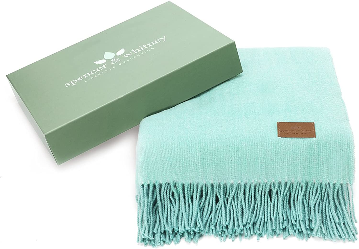 Spencer&whitney Bed Throw Blanket Throws Wool Throw 70% Wool 30% Viscose Throws Twin Lightweight Throw Blanket Wool Throws Throw Blanket (Light bluee)