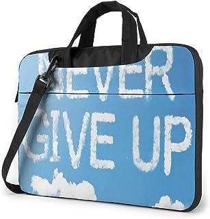 "Never Give Up Laptop Bag Protective Case Computer Messenger Briefcase Women Men 13"""