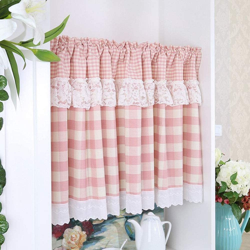 HLMBQ Pink Plaid Curtains Tier online shopping Short for New color C Kitchen Cafe