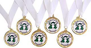 Pack of 6 I Graduated From Preschool Graduation Award Medals on White Ribbons, 2 1/2 Inch