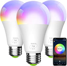 BERENNIS Smart Light Bulb, A19 E26 RGBCW WiFi Dimmable Multicolor LED Lights, Compatible..