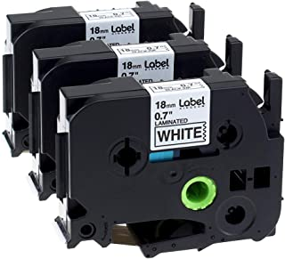 3-Pack Compatible with Brother P-Touch Label Maker TZ TZe Laminated Tape TZe241 TZ241 Black on White 18mm (3/4 Inch) x 26.2 Feet (8m)