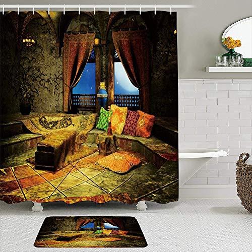 FOURFOOL Cortinas con Ganchos,Árabe Tema marroquí Palacio Castillo Alfombra Almohadas Ventana Vista Cielo Estrellado Noche árabe,Decoraciones de Cortinas de Ducha Alfombra de Baño Moderno