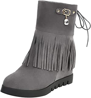 ELEEMEE Women Fashion Wedge Heel Fringe Boots