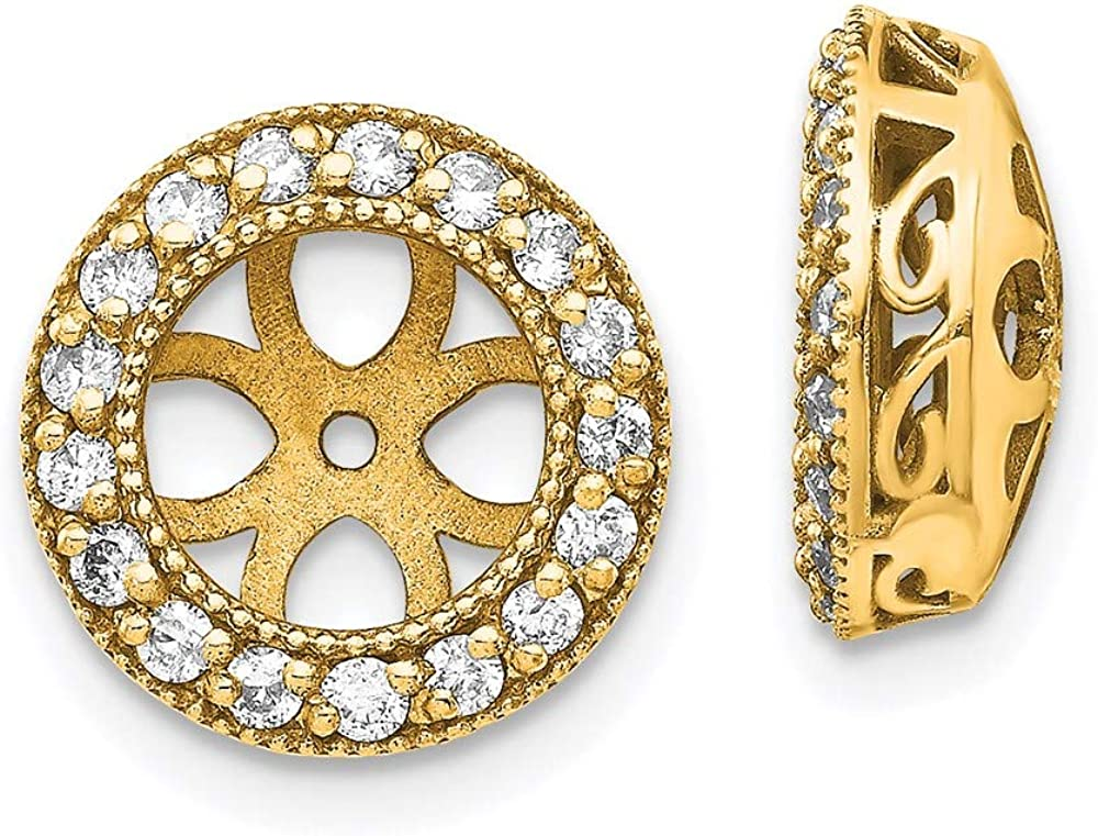 14k Diamond Earring Jacket Mountings 11.5mm 11.5mm style XJ35