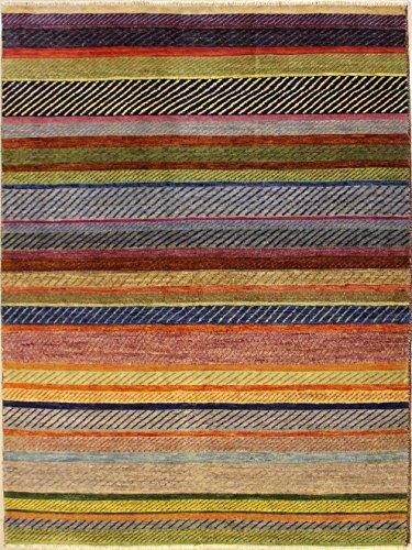 Ethnischer Teppich, 172 x 246 cm, Perserteppich, Pak, handgeknotet, Design Gabbeh, Farben: Grün,...