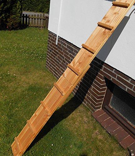 Jennys Tiershop 2 Meter! Katzenleiter/Katzentreppe mit Einem Verbinder für Balkon, Extra Breit! Mit gr. Bügeln. 21 cm Breit! Douglasie