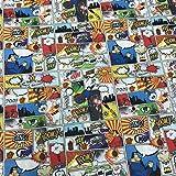 Kt KILOtela Tela de Patchwork - Estampación Digital - 100% algodón - Retal de 50 cm Largo x 140 cm Ancho | Cómic Superman - Multicolor, Blanco ─ 0,50 Metro