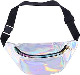 TENDYCOCO Fanny Pack Hologramm PU Leder Shinning Hüfttaschen für Frauen Mädchen Silber