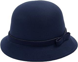 0001c3ec082 EUBUY Womens Vintage Wool Felt Fedora Hat with Bowknot Floppy Hat Cloche  Derb Bowler Hat Wide
