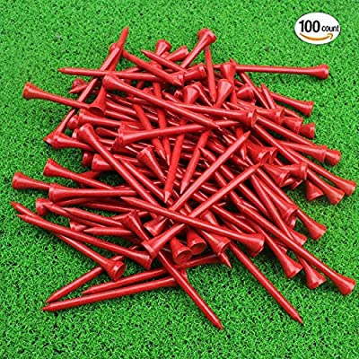 MYKUJA Bamboo Golf Tee 3-1/4 inch Pack of 100 Red
