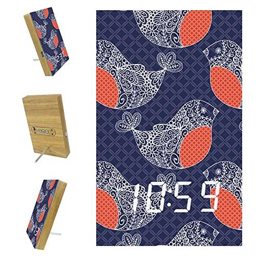 Despertador digital para dormitorio con puerto USB para carga, oficina y decoración del hogar, pájaros morados, 15,7 x 9,6 x 2,3 cm