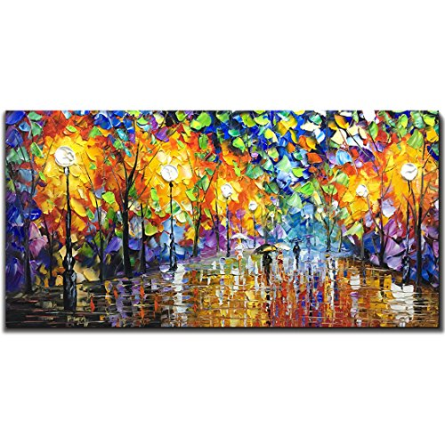 V-inspire Art, 24X48 Inch Oil Paintings on Canvas Wall Art 100% Hand-Painted Contemporary Artwork Abstract Artwork Night Rainy Street livingroom Bedroom Dinning Room Art Home Decorative