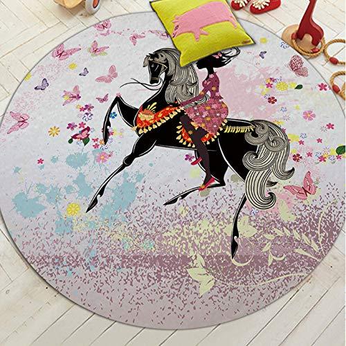 Runde Teppiche Fee Gedruckt Kreative Stilvolle Komfortable Einfache Dekor Teppich Baby Krabbeln Wohnzimmer Kinderzimmer Bad rutschfeste Weiche Matte 120 cm