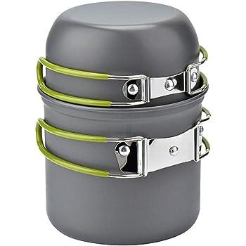 ピクニック用 アウトドア鍋 1-2人用 ポータブル 便利 食器 調理器具バーベキュー クッキング用品 収納袋付き