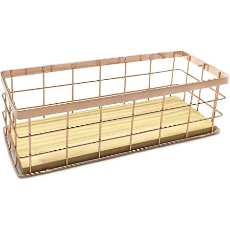 JOYJOO Metal Storage Basket with Wood Base, Decorative Baskets for Home Storage, Wire Basket for Organizing Small Tableware Rose Gold