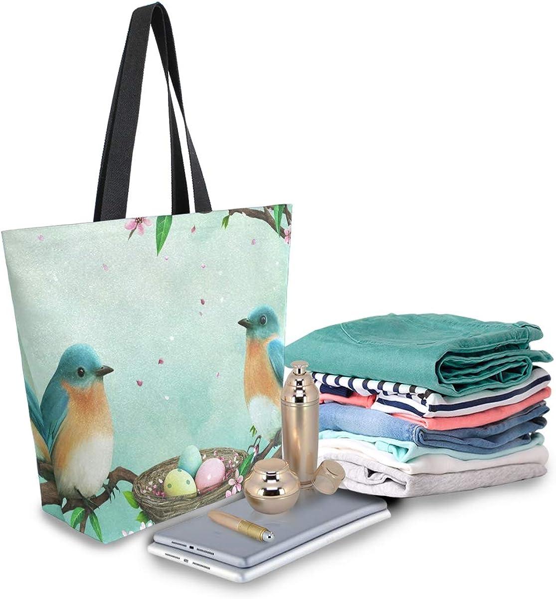 MNSRUU Women's Canvas Tote Easter Eggs Bird On Tree 373361848 Shoulder Bag Stylish, Shopping Casual Bag Foldaway Travel Bag