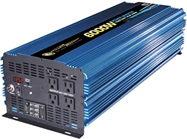 PowerBright PW6000-12 12V DC to AC 6000W Modified Sine Wave Power Inverter, 6000W Continuous Power, 12000W Peak Load Power Rate, Anodized Aluminum Case, Built-in Cooling Fan