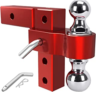 YITAMOTOR 6' Drop Adjustable Trailer Hitch Ball Mount Aluminum Alloy 2' Forged Shank & Steel Dual Combo Balls