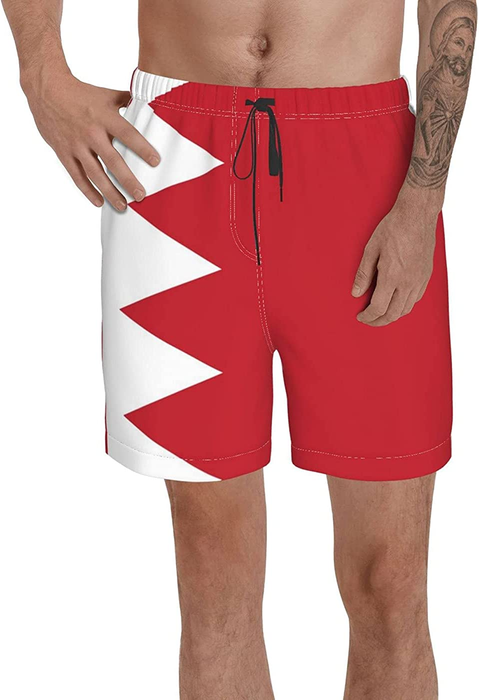 Count Bahrain Flag Men's 3D Printed Funny Summer Quick Dry Swim Short Board Shorts with