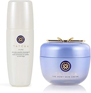 Tatcha Bundle Set: Dewy Skin Cream (50ml) & Pure One Step Camellia Cleansing Oil (150ml): 2 in 1 Makeup Remover + Skin Moi...