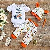 XTBL Baby Kleidung Set Ostern Bunny Outfits Romper + Pants Neugeborene Baby Ostern Strampler Kurzarm Frohe Ostern Overall mit Hut für Jungen Mädchen Ostereier Osterhase