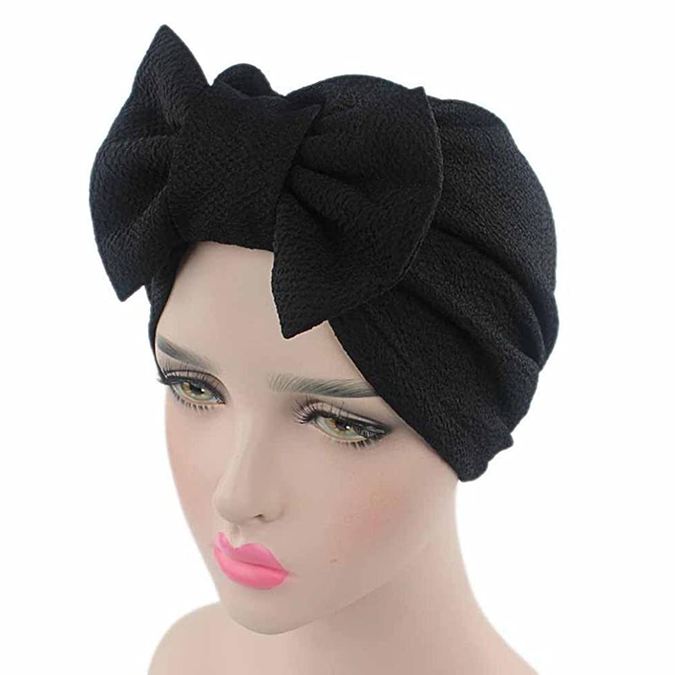 QingFan Women Solid Bow Pre Tied Cancer Chemo Hat Beanie Turban Stretch Head Wrap Cap gqv758335428195