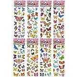 PMSMT 8 Hojas/Set Pegatinas de patrón de Mariposa de Dibujos Animados en 3D a Prueba de Agua para niños Juguete de Bricolaje para niños niñas decoración de habitación Pegatina Kawaii