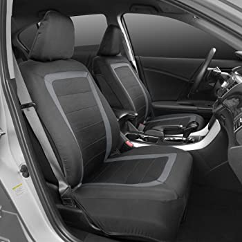 BDK FreshMesh Car Seat Covers, Full Set (Gray Accent) – Front and Back Seat Cover Set with Modern Sideless Design, Un...