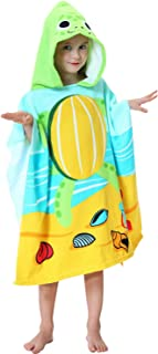 Kids Hooded one Piece Beach Pool Bath Towel as Sea Turtle for Boys and Girls Green