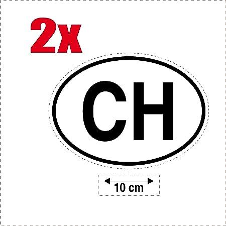 2 X Selbstklebend Sticker Flagge Oval Code Länder Auto Moto Ch Suisse Auto