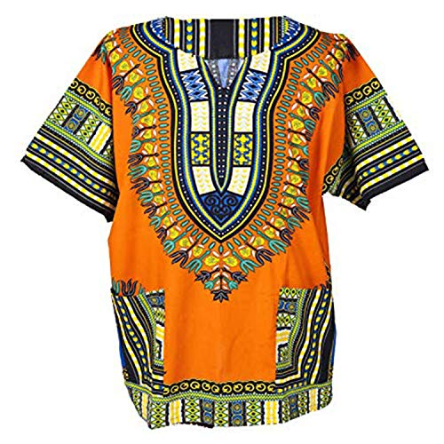 Lofbaz Unisex Dashiki Stampa Tradizionale Africana Hippy Boho L Orange