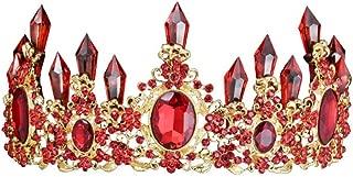 LINLIN Bridal Tiara Crystal Column Gold Crown Earrings Set Accesorios para El Cabello Accesorios para El Vestido De Novia Crown