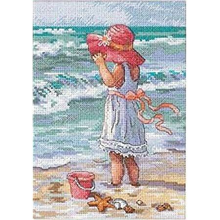 DIMENSIONS 65078 Gold Petite: Counted X Stitch: Girl at The Beach, Polyester blend, Multi-Colour, 18 x 13 x 0.2 cm