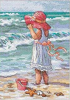 Dimensions Gold Collection Counted Cross Stitch Kit, Girl at the Beach, 18 Count White Aida, 5'' x 7''