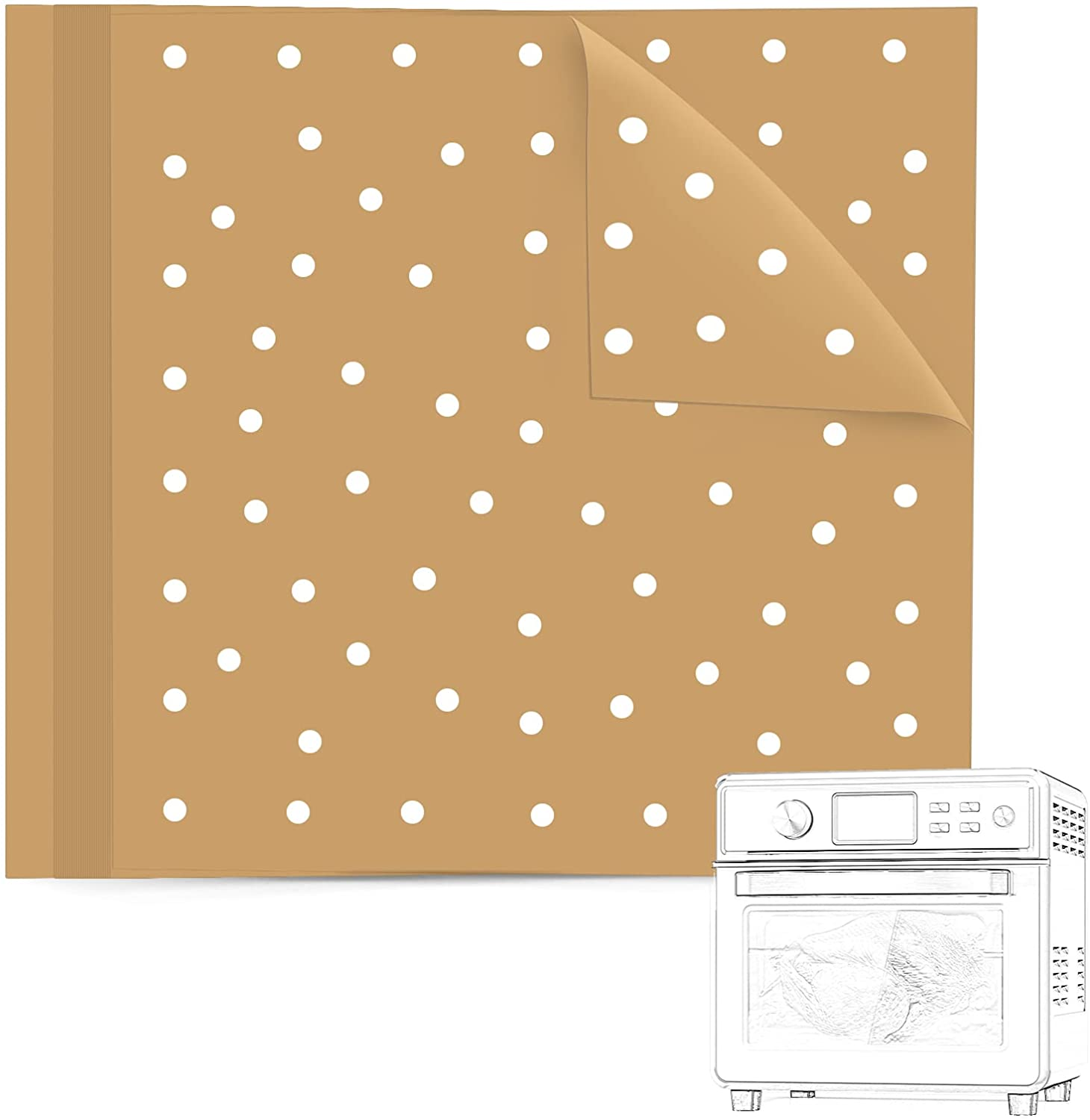 BYKITCHEN Air Fryer Oven Liners, 11x12 Inches, Nonstick Unbleached Rectangular Air Fryer Parchment Paper for Air Fryer Toaster Ovens, XL Air Fryer, Dehydrator and More (Set of 100)