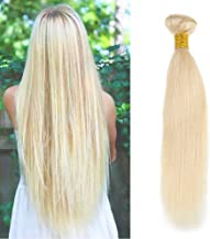 Full Shine 100% Brazilian Remy Human Hair Extensions 20inch Sew In Weave Hman Hair Silky Straight Weave Weft Blonde Hair Extensions 100g Per Bundle (Color #613)