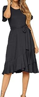 levaca Women's Plain Casual Flowy Short Sleeve Midi Dress...