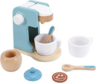 WHOHOLL Toy Coffee Maker, 8 Pcs Wooden Play Kitchen Accessories Pretend Set for Boys Girls Easy Fun Toddler Kitchen Playse...
