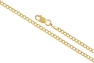 14K Gold 2MM 2.5MM 3.1MM 3.80MM 4.60MM Cuban Curb Chain Necklace and Bracelet for Men and Women ( Unisex ) Cuban Link Concave Curb Gold Chain Necklace, 14K Gold Necklace, 14K Cuban Curb Chain, 14K Gold Chain 10