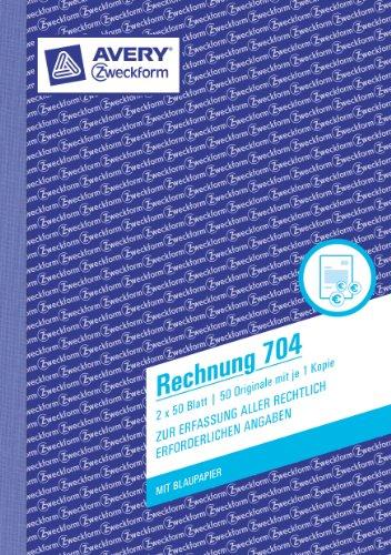 Avery Zweckform 704-5 Rechnung (A5, mit 1 Blatt Blaupapier, 2x50 Blatt) 5er Pack, weiß/weiß