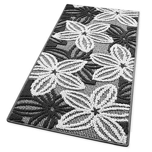 ARREDIAMOINSIEME-nelweb Tappeto Cucina Floreale Tessitura 3D Retro Antiscivolo Moderno Multiuso Passatoia Corridoio Bagno Camera MOD.Enea 50x115 Grigio (G)