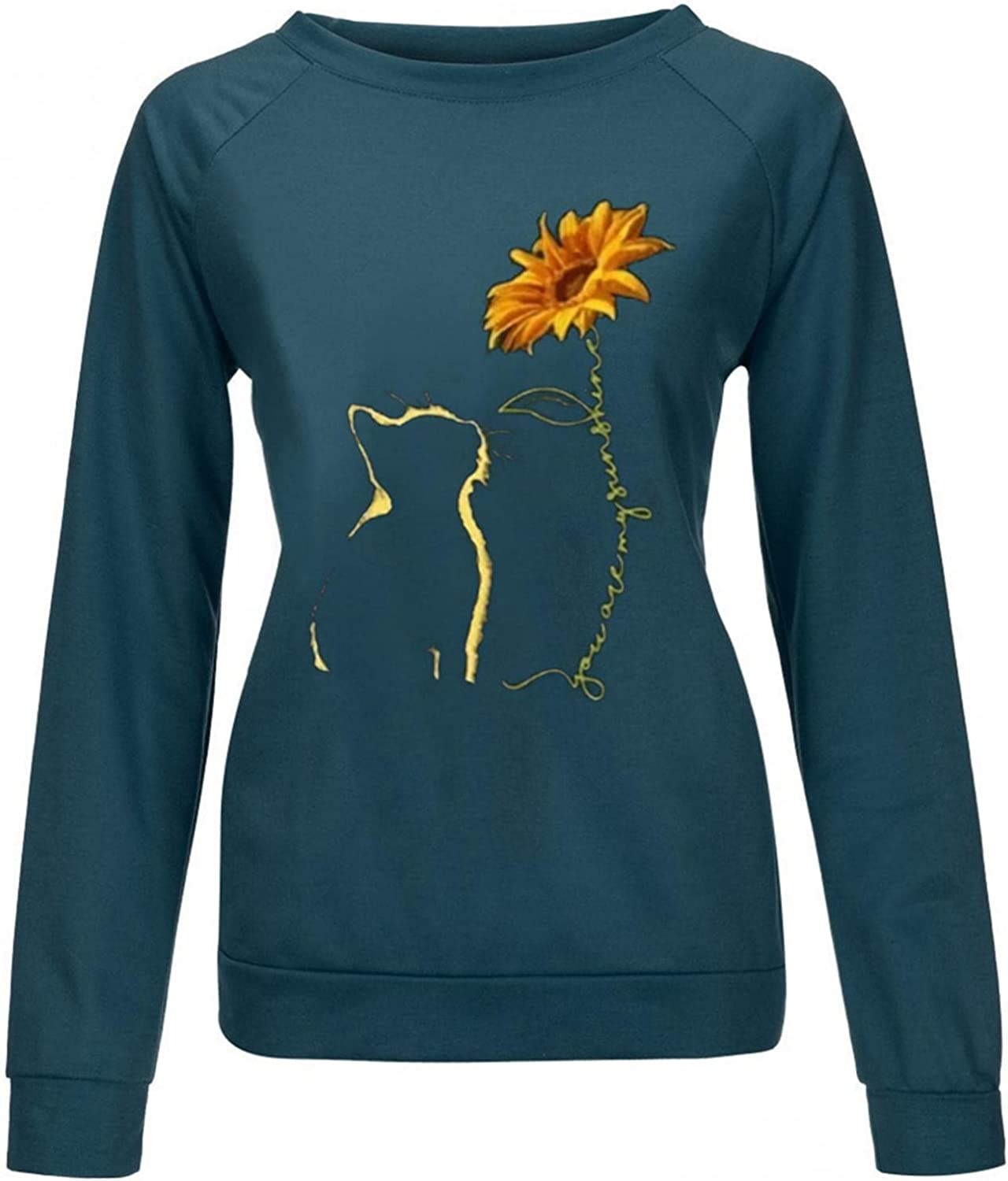 Toeava Long Sleeve Shirts for Women Casual Graphic Tee Shirts Crew Neck Sweatshirts Plus Size Pullover Sport Tunic Tops