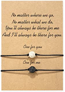MANVEN Relationship Distance Promise Matching Wish String Bracelets for Couples Mom Daughter Best Friend Teens Boy Girls Sisters Women Men