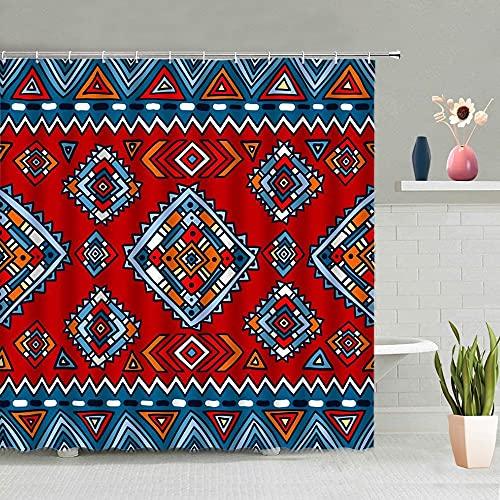 XCBN Mandala Bohemia Flor Cortina de Ducha Color geométrico Cuadrado Triángulo Raya Dibujos Animados Accesorios de baño Decoración del hogar L 180x180cm