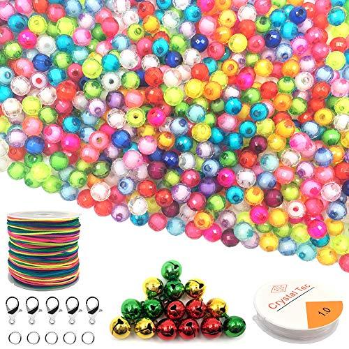 HEOCAKR 8mm Perlen zum Auffädeln, 1000 Stück Bunte Perlen für Armbänder, Halsband DIY Basteln