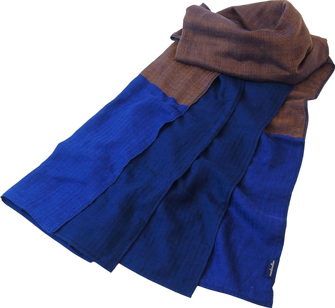 甘味運動体現するUCHINO ショール カラーブロックマシュマロガーゼ 手軽に洗える 軽くてかさばらない 78×200cm ブラウン 88M1P744 Br