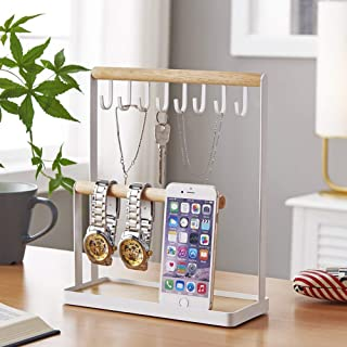 Jewelry Tree Stand Organizer 3in1 Necklace Organizer Display Bracelet Earrings and Ring Tray Jewelry Organizer Holder Hanger Metal
